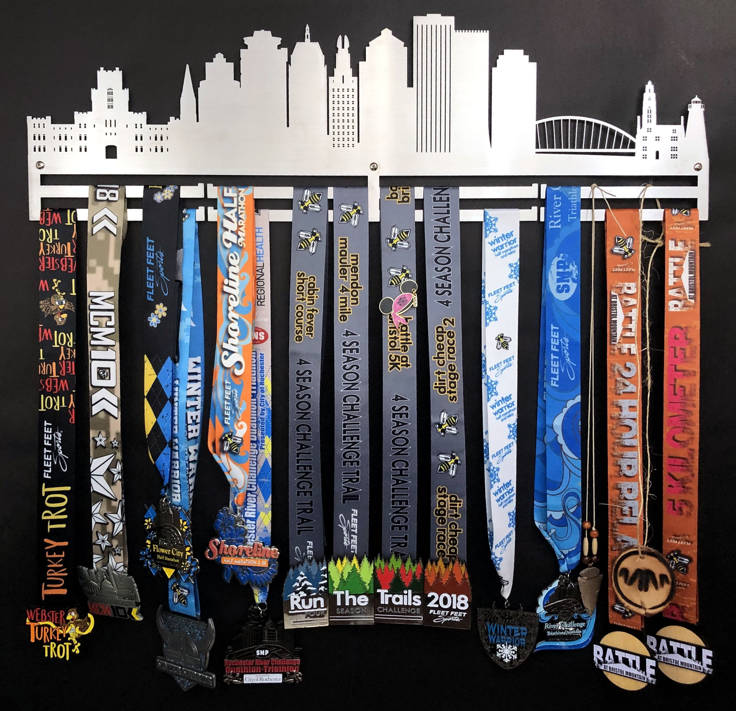 Rochester Skyline Stainless Steel Medal Holder For Running Medals Gymnastics Medals Swimming Medals And More Gymnastics Medals Medal Holders Swimming Medals