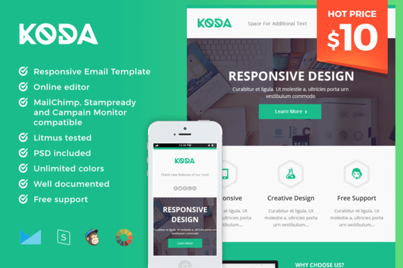 Features Responsive Email Template Drag & Drop in StampReady ...
