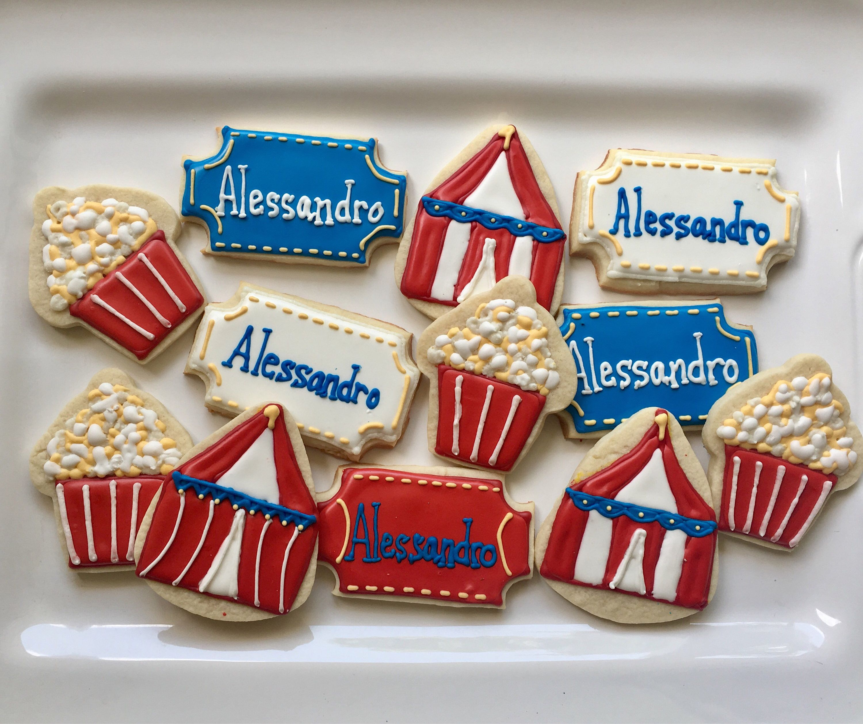 Circus carnival party decorated  cookie party favors A personal favorite from my Etsy shop https://www.etsy.com/listing/537649445/circus-or-carnival-themed-decorated