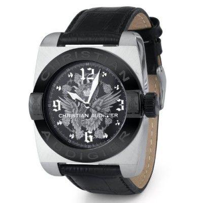 207f3ec4724 Relógio Christian Audigier Men s Castle Garden Gents Genuine Black Leather  Dress Watch FOR-207  Relógio  Christian Audigier