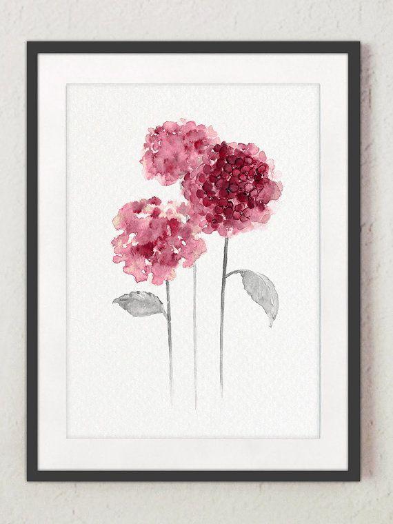 Ähnliche Artikel wie Hortensia abstrakt blumen, Hortensie minimalistischen Malerei, Rosa Lila Aquarell Blume, Küche Kunstdruck Wand Dekor, grau Blätter Poster auf Etsy #minimalist