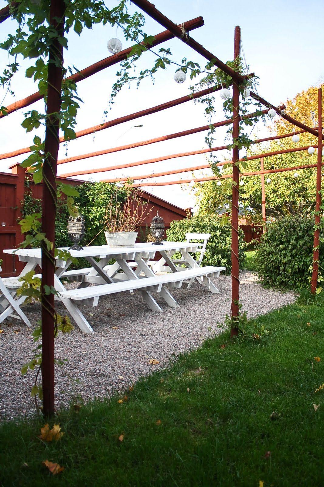 Garden decor trellis  simple trellis pergola with gravel patio  Hardscapes  Pinterest