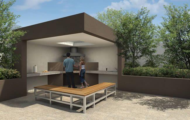 Barbeque petits jardins pinterest for Cobertizo de jardin moderno de techo plano