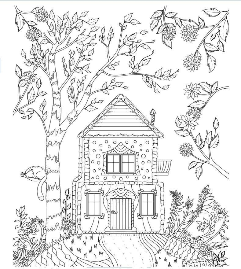 Cottage On The Hill Coloring Page Cool Coloring Pages Free