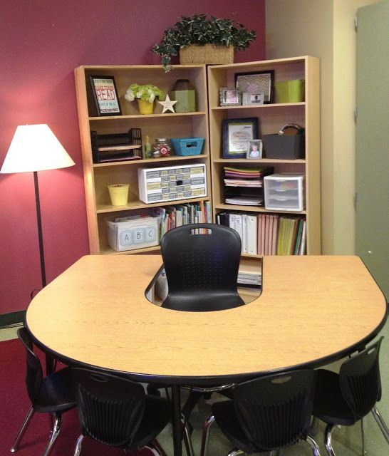 Great classroom set up - Love this guided reading/teacher desk area with the bookshelves as storage.