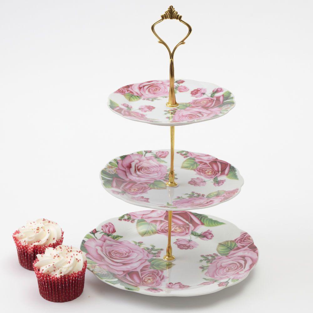 3 tier vintage floral ceramic cake stand cupcake wedding
