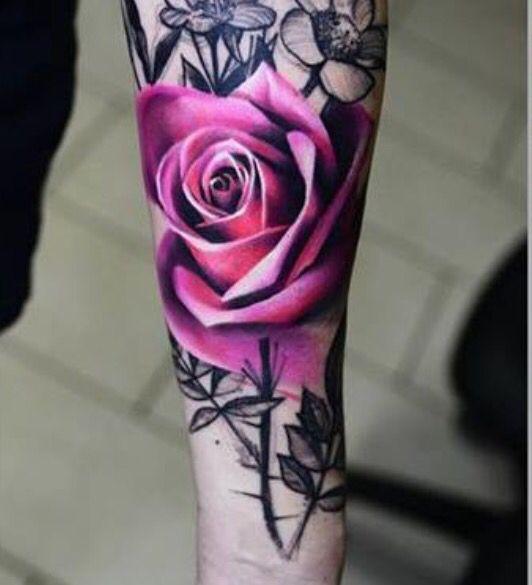 Flower Tattoos Color Black White Tatoos Pink Rose Tattoos