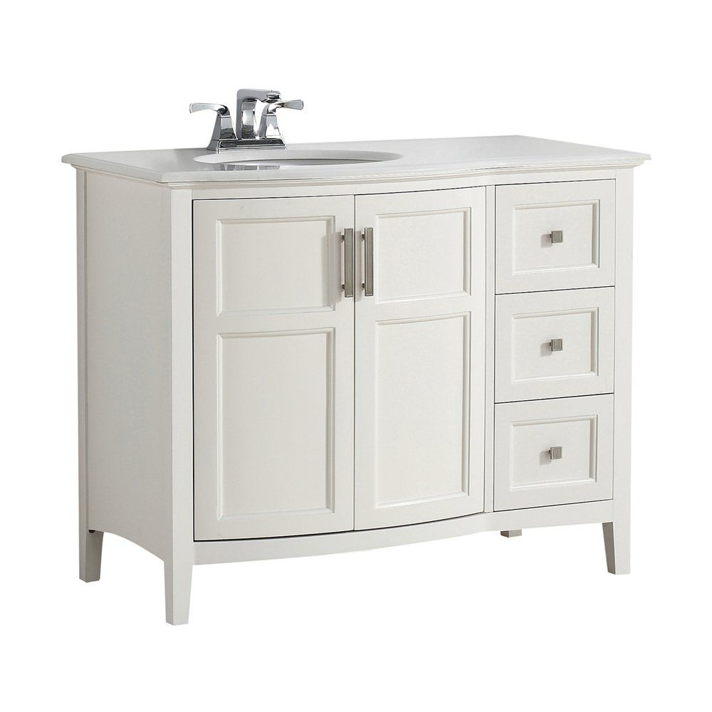 Shop Simpli Home 4AXCVWNRW Winston Rounded Front Bath Vanity with ...