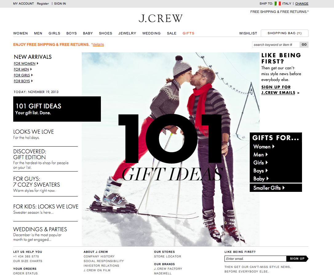 J.Crew - 101 Gift Ideas. Your gift list. Done