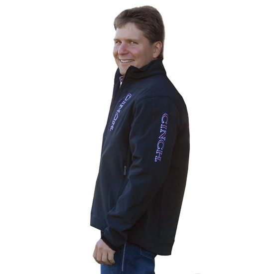 #Cinch Men's Black Bonded Jacket with Maroon/White