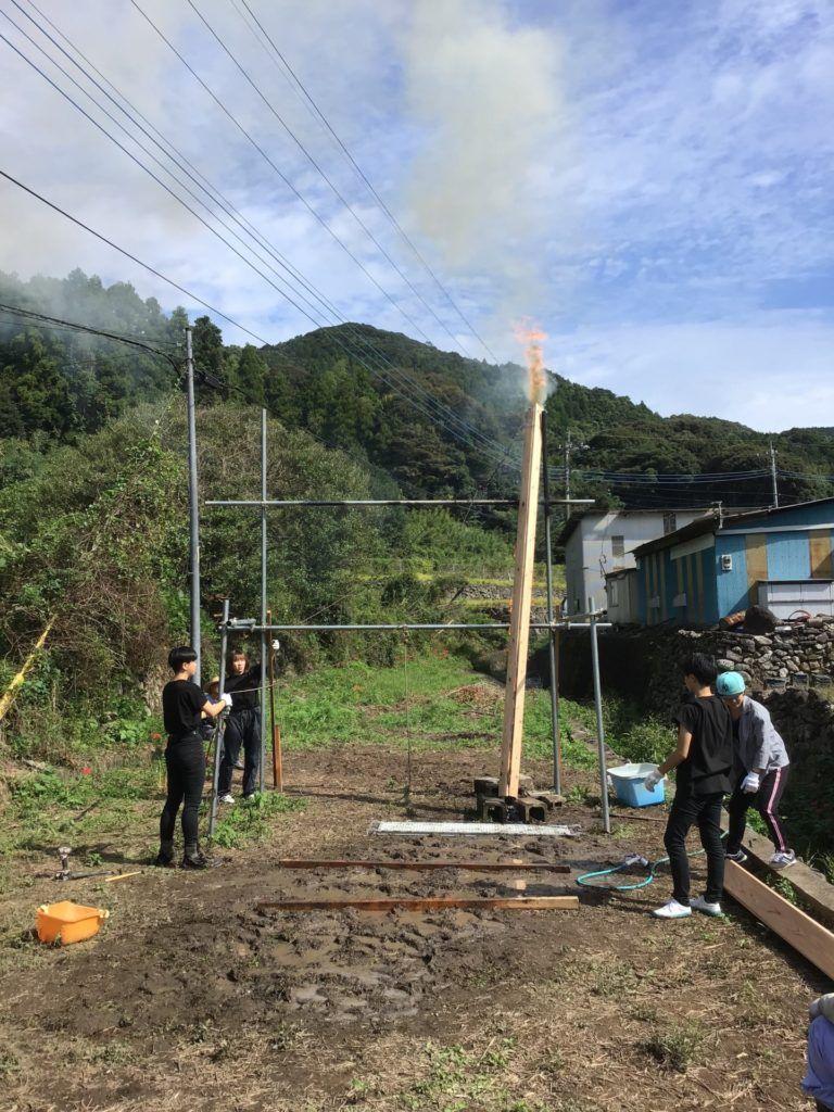 長崎 大橋の家 の焼杉を焼きました 長崎 焼杉 リノベーション 店舗