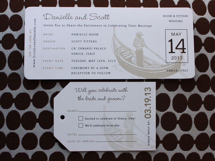 Brown Tan Gondola Italy Themed Boarding Pass Wedding Invitations - airline ticket invitation