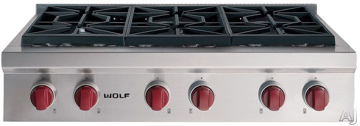 Wolf 36 Inch Pro Style Gas Rangetop With 6 Dual Stacked Sealed Burners Simmer Melt Feature Porcelain Coated Cast Iron Continuous Grates And Automatic