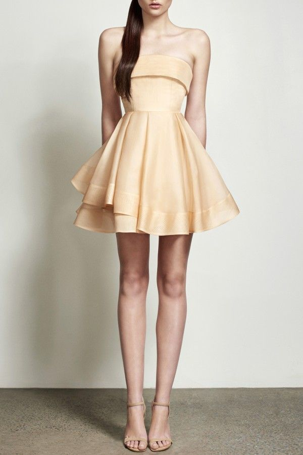 Preorder Jaclyn Silk Organza Nude Strapless Mini by Alex Perry ...