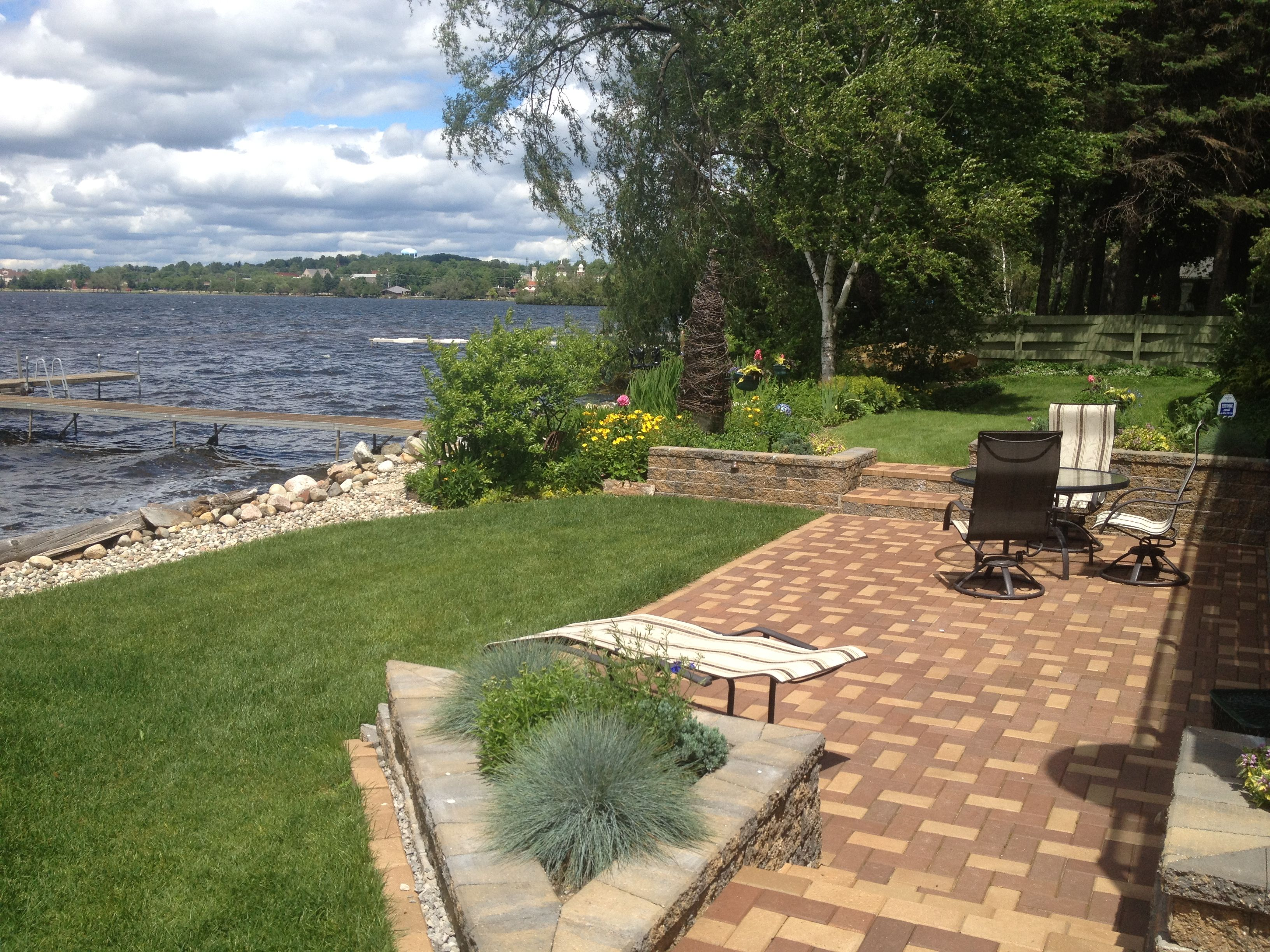 lakefront patio and landscaping
