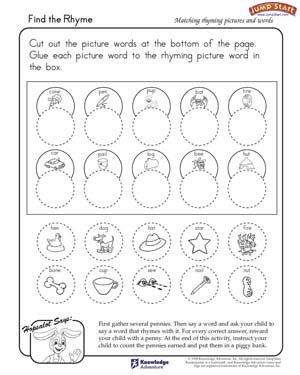 Printables Free Printable Rhyming Worksheets For Kindergarten 1000 images about rhyming on pinterest teaching early readers and word families