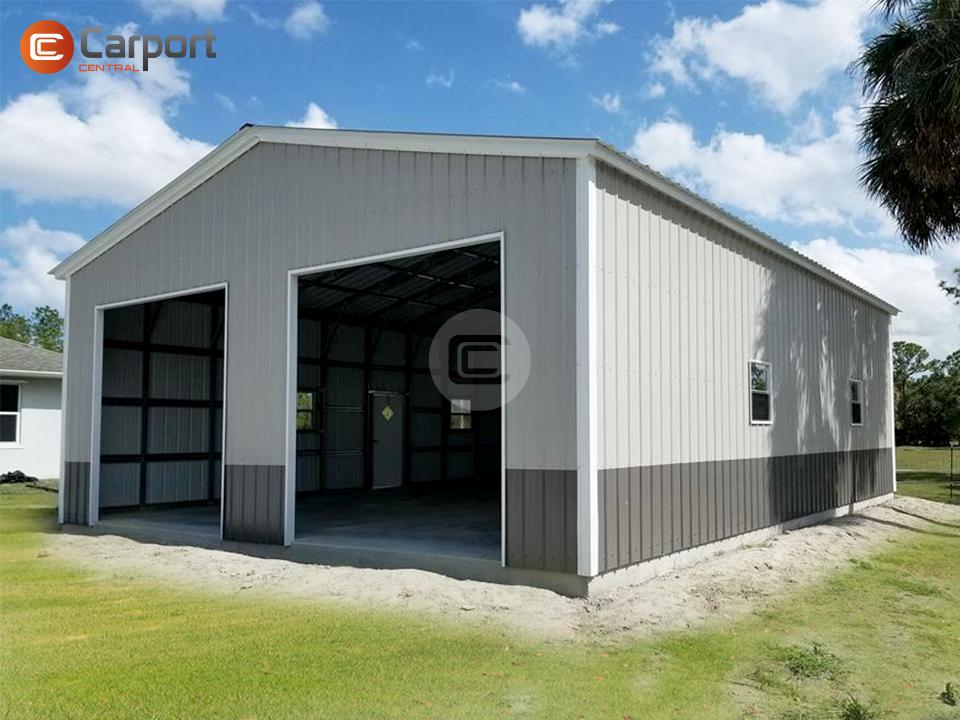 30x46 Metal Garage Buy Enclosed Metal Garage In 2020 Metal Garages Metal Buildings Garage Door Styles