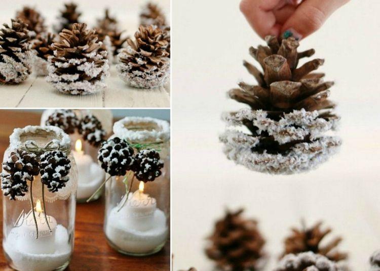 Basteln Mit Tannenzapfen Advent basteln mit tannenzapfen zum advent kunstschnee deko idee