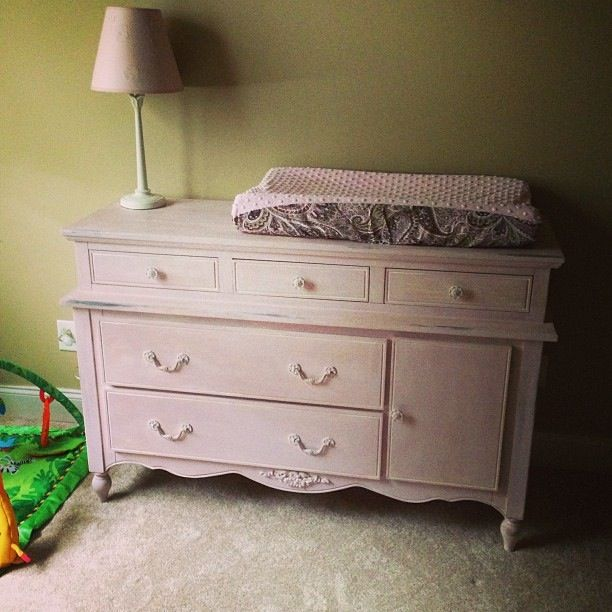 DIY Shabby Chic Baby Furniture Done In Annie Sloan Antoinette. (Light Pink)  With