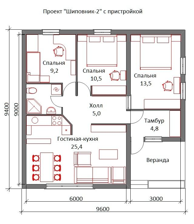 Первый этаж мансардного дома Шиповник House projects Pinterest - plan maison plain pied 80m2