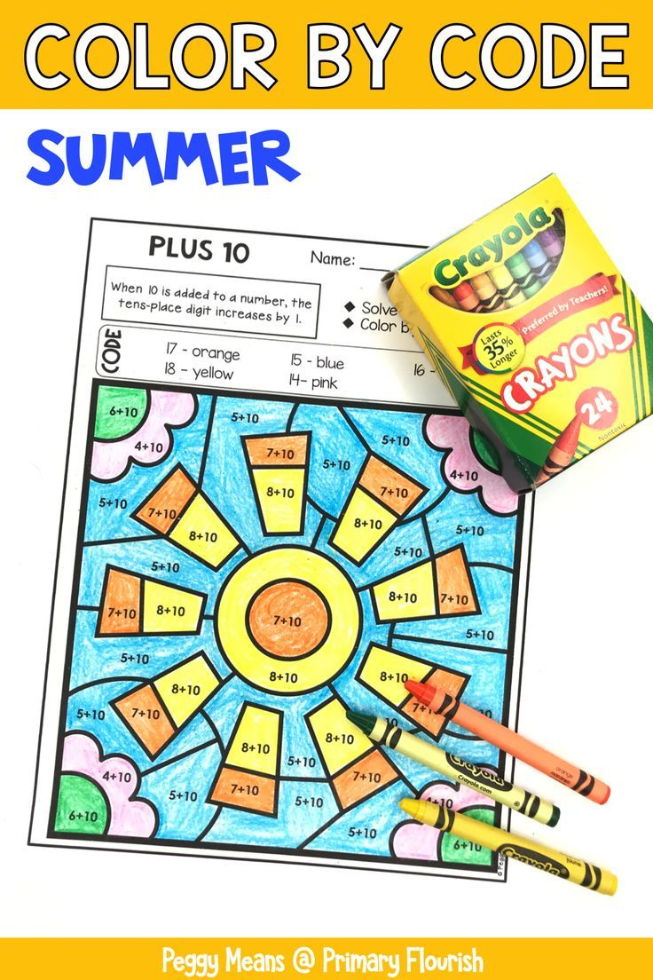 Color-by-Code Addition   Color by Number {Summer}   No Prep Math ...