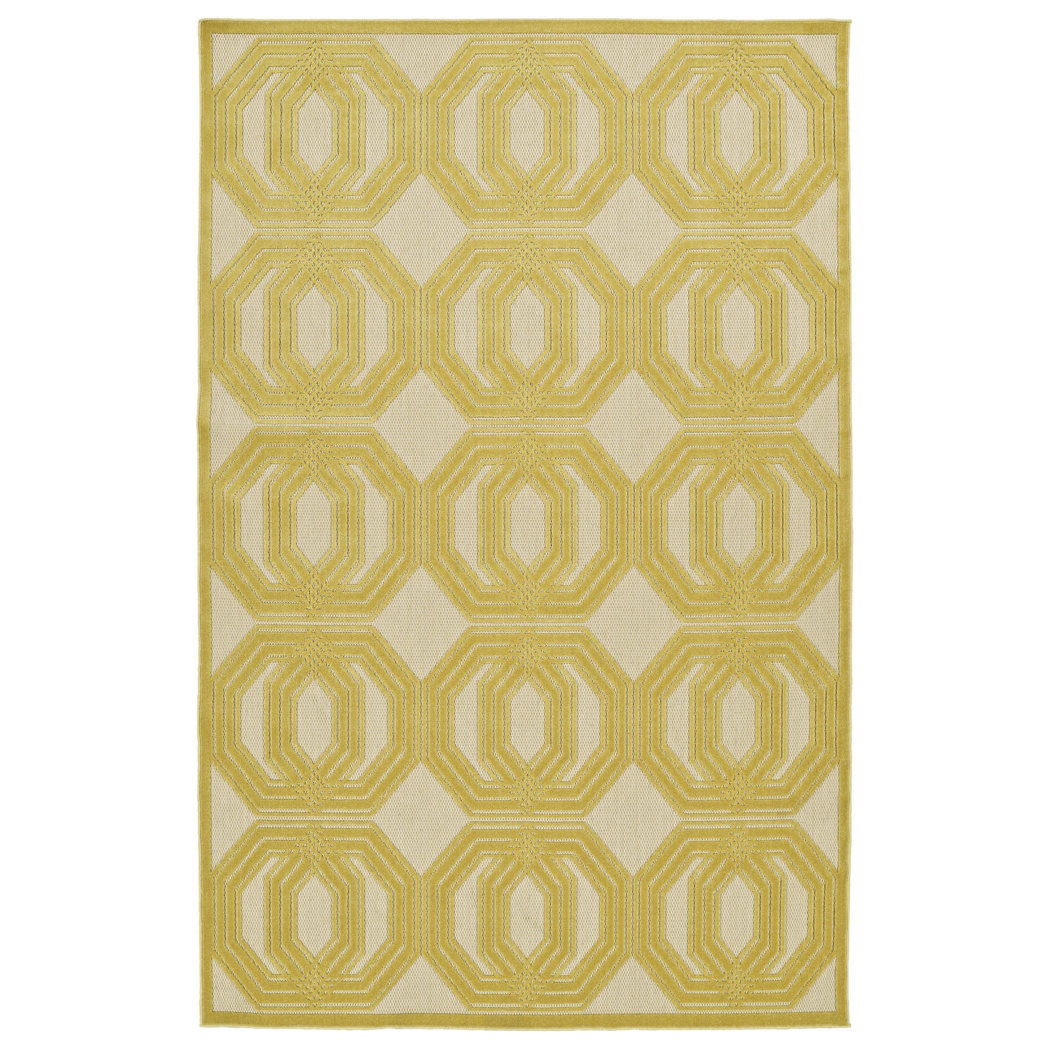 Kaleen Rugs Indoor/Outdoor Luka Gold Geo Rug (2'1 x 4'0) (2'1 x 4'), Beige, Size 2' x 4' (Plastic, Border)