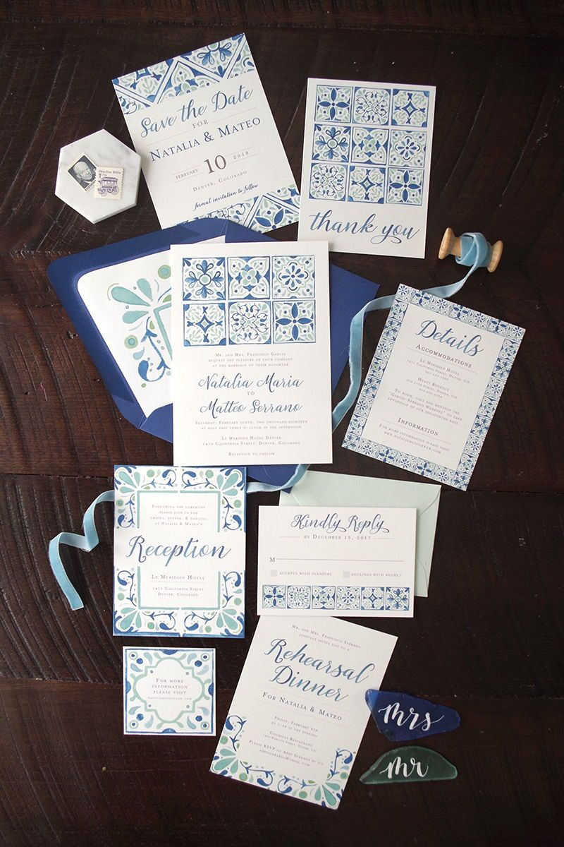 Hand Painted Spanish Tile Wedding Invitation Suite In A Blue And