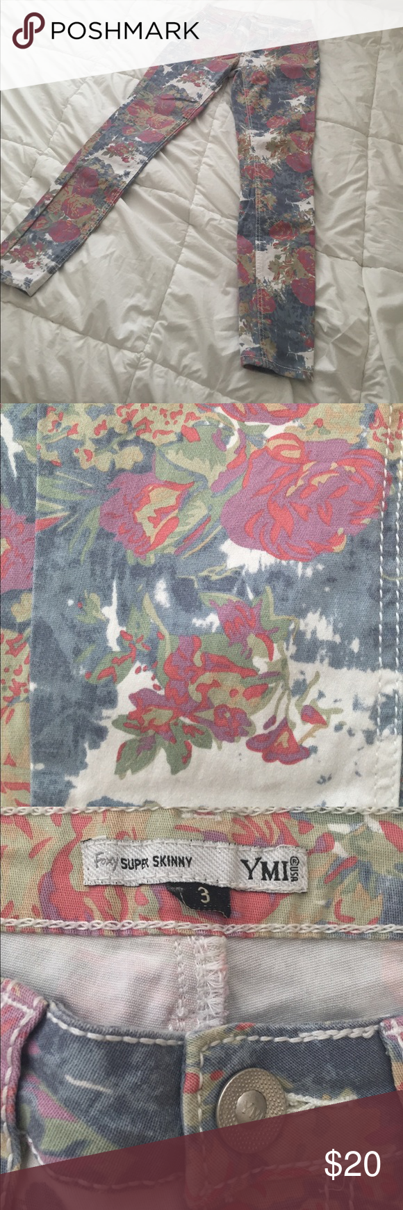 Floral skinny jeans Like new! YMI super skinny floral jeans! Perfect for summer! YMI Jeans Skinny