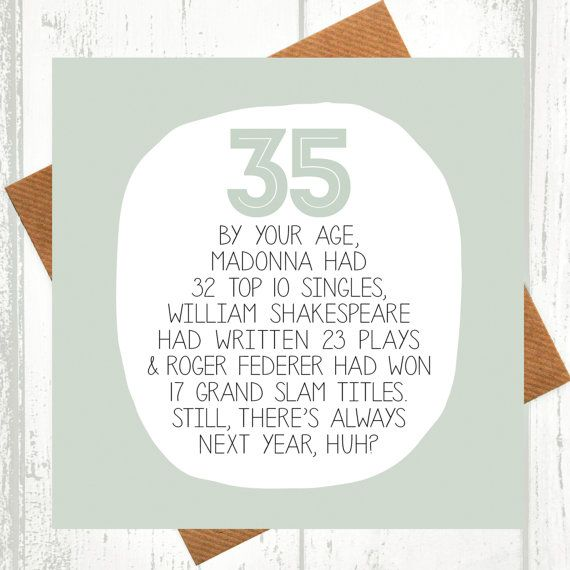 35th Birthday Card Funny Cards By WeArePaperPlane