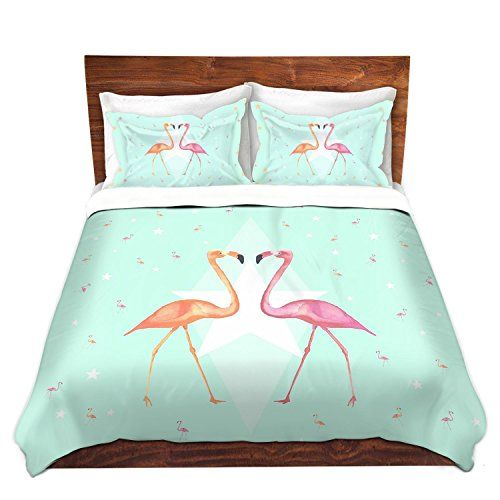 Dreamscene Flamingo Steppdecke Bett Bezug mit Kissenbezug Rosa Grau Geo