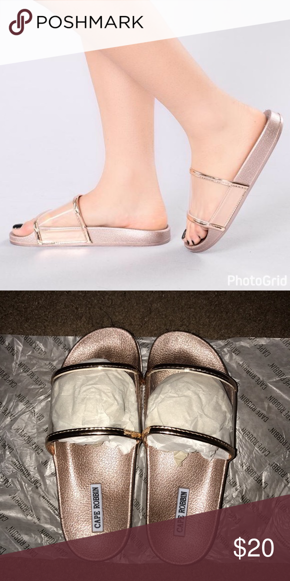 6b2872c3e90 ROSE GOLD SLIDES BRAND NEW very cute Rose gold slides with a clear band to  go across the foot. Fashion Nova Shoes Sandals