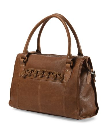 Leather Braided Strap Tote