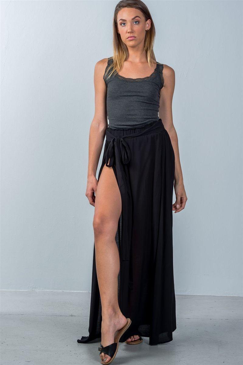 167cebf540 Ladies fashion black tie waist double slit maxi skirt – Westcoastblu
