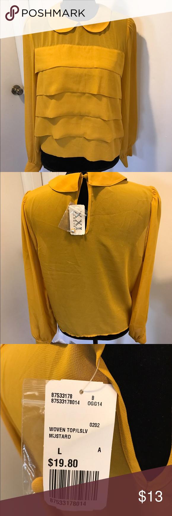 Long sleeve collar blouse Mustard sheer long sleeve top Forever 21 Tops Blouses
