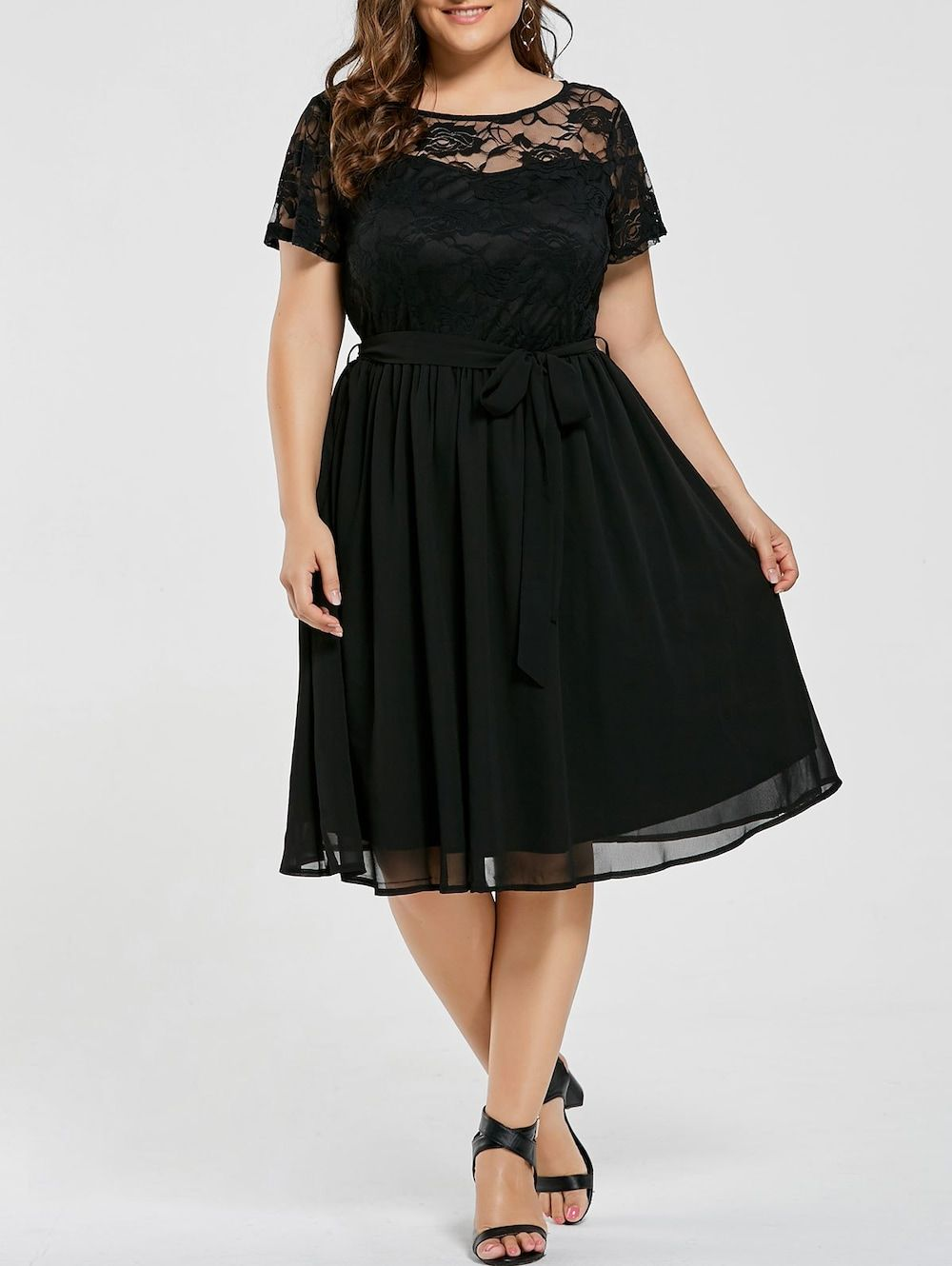 f818df9e774 Plus Size Lace Panel Overlay Dress - BLACK 6XL