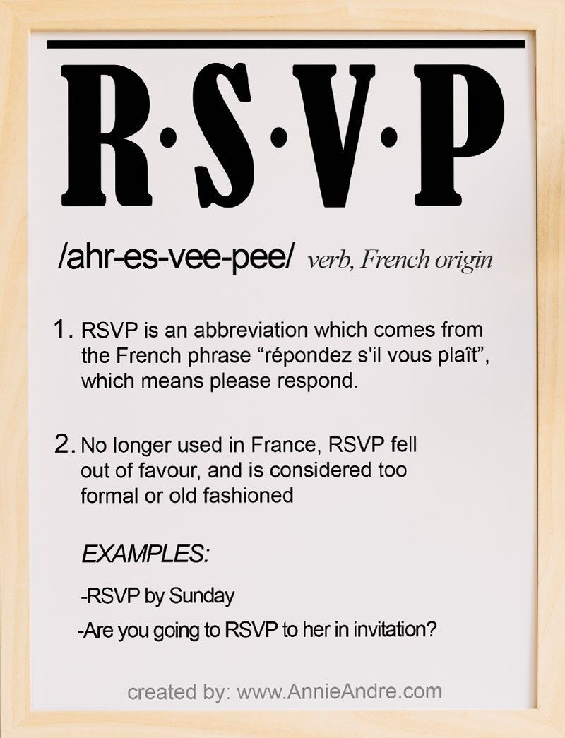 How I Made A Fool Of Myself Using The French Abbreviation Rsvp Vocabulary Words French Phrases Abbreviations