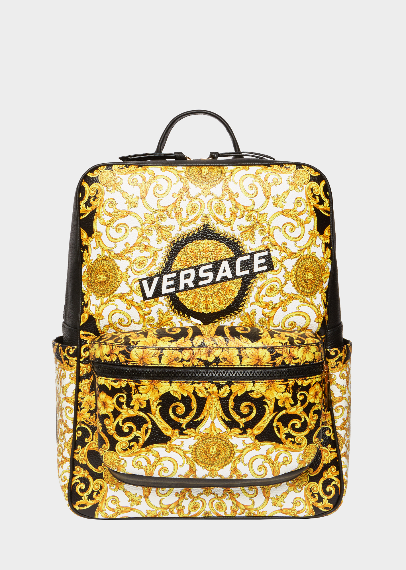 bb84ca4e2e VERSACE Gold Hibiscus Print Leather Backpack. #versace #bags ...