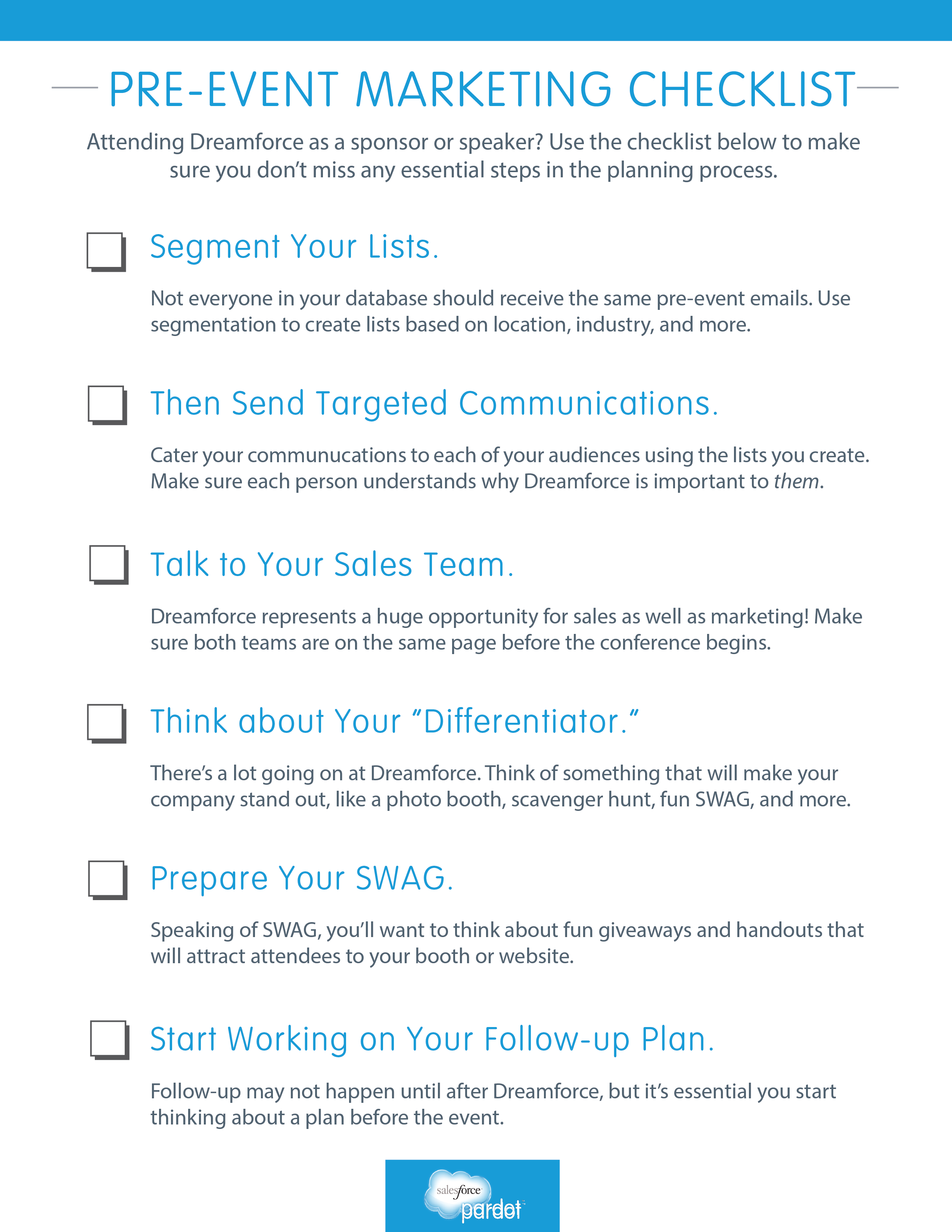 PreEvent Marketing Checklist  Marketers Use This Checklist To