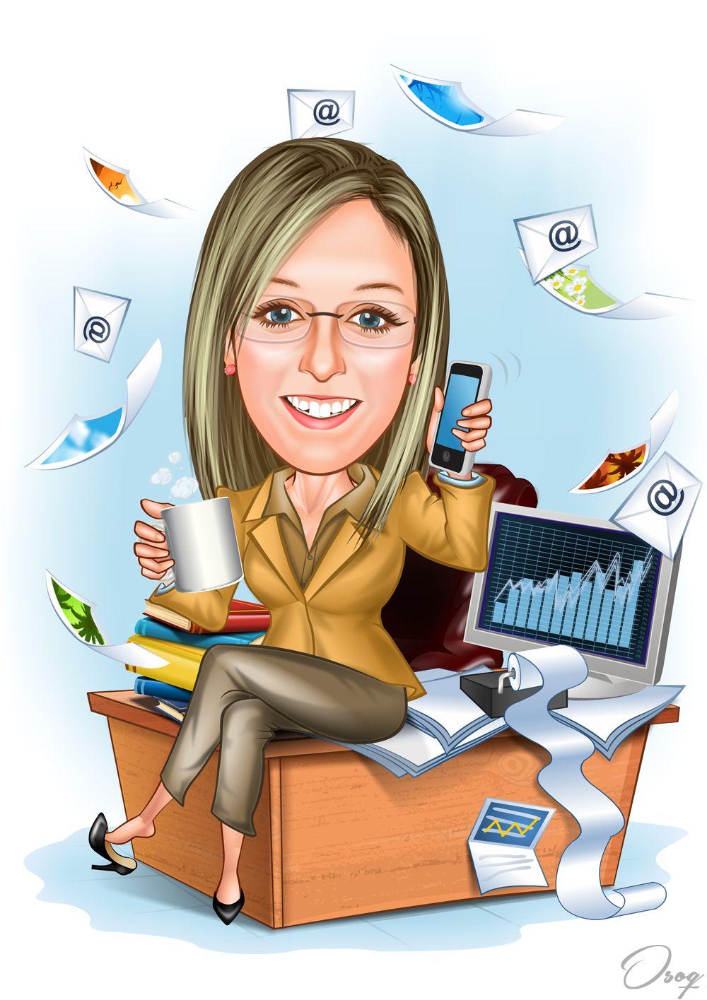 Office Working Portrait   Caricature, Office cartoon ...