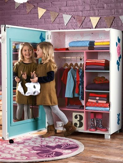 armoire dressing lzc chambre fille blanc moyen imprime vertbaudet enfant playroom armoire. Black Bedroom Furniture Sets. Home Design Ideas
