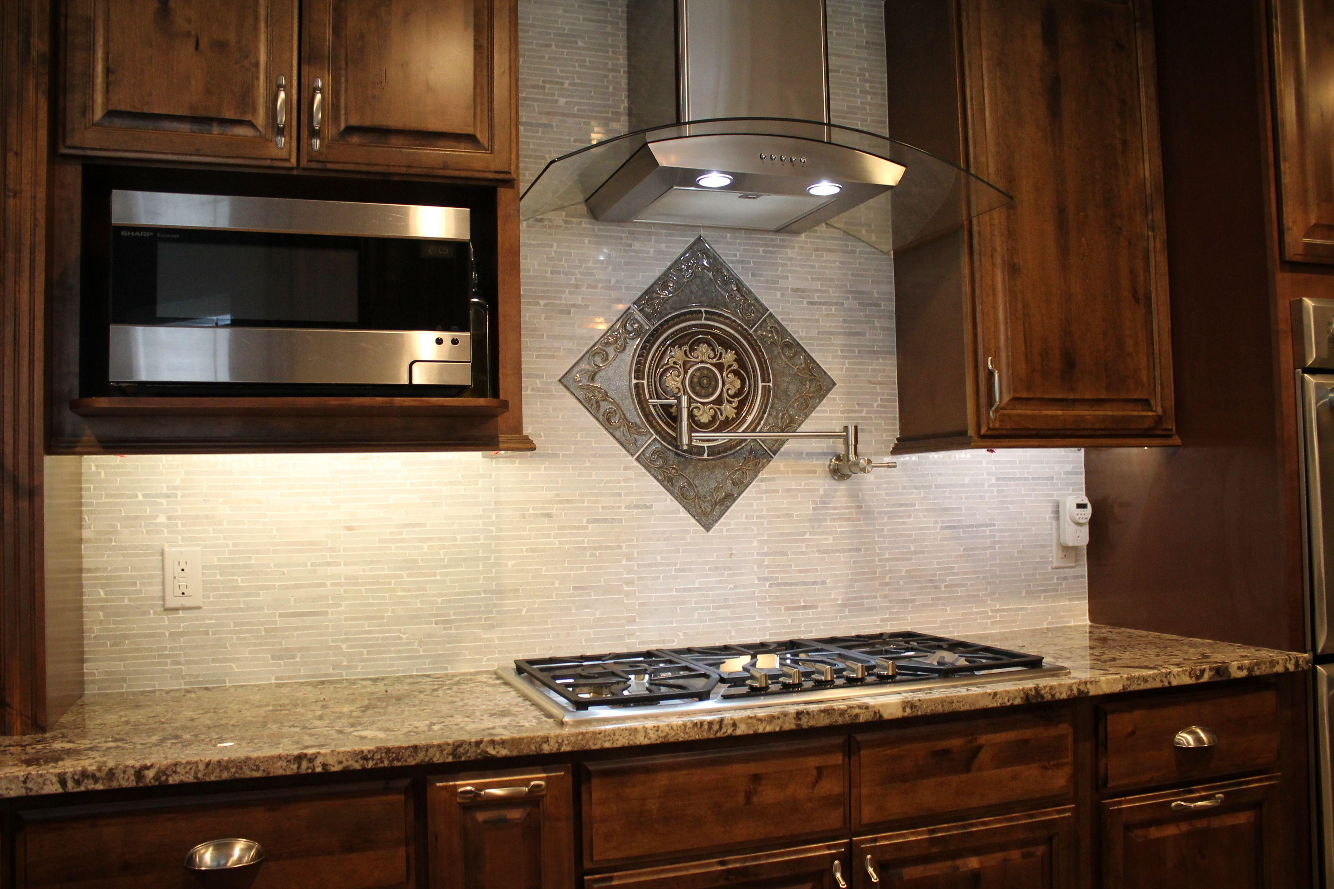 Kitchen design with dark wood cabinets granite countertops and gray kitchen design with dark wood cabinets granite countertops and gray brick tile backsplash dailygadgetfo Image collections