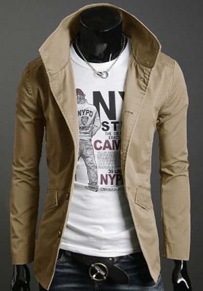 Korean Style Skinny Men Long Sleeve Single-breasted Khaki Blends Jacket Coat M/L/XL/XXL @X611256k