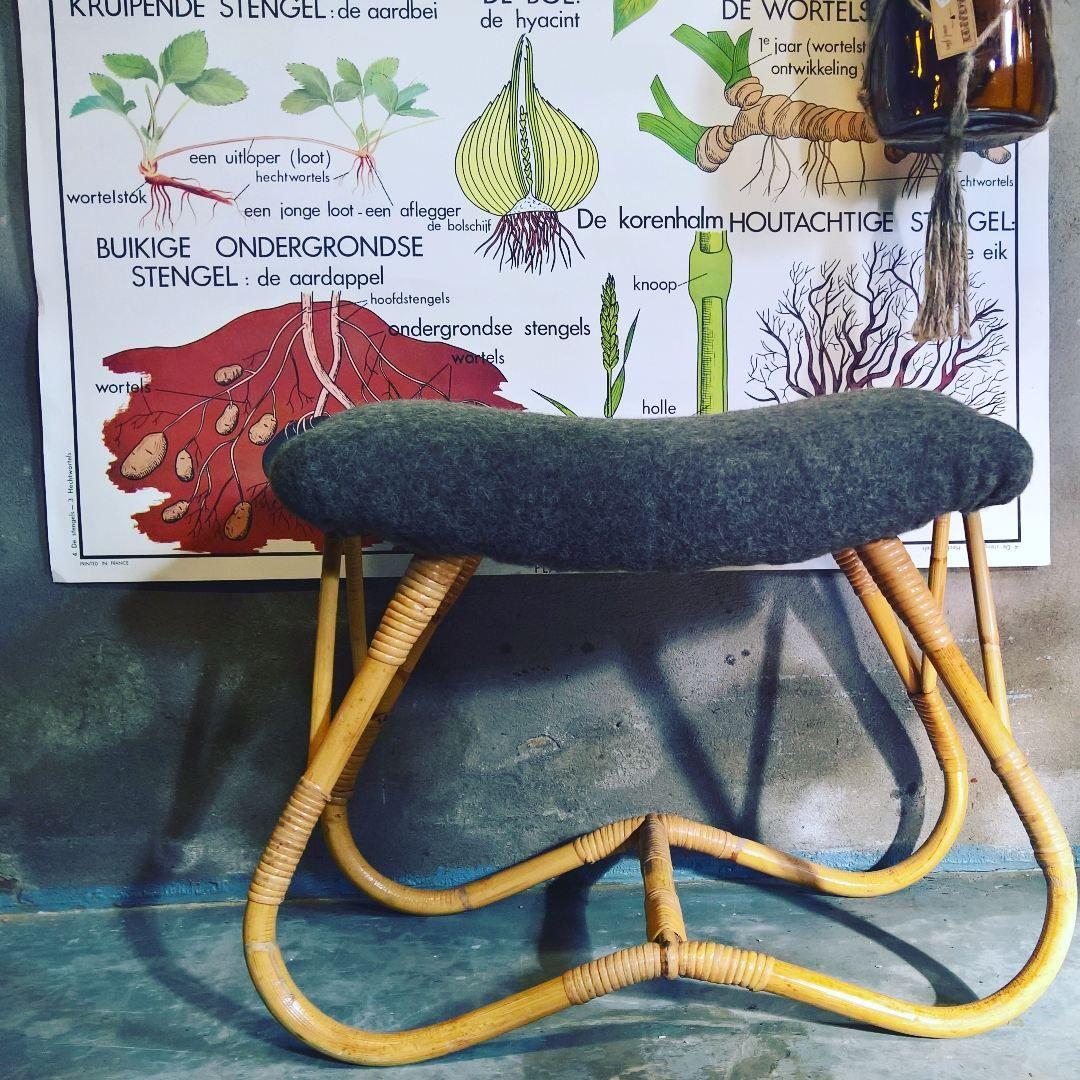 Rotan voetenbankje past in elk interieur!   Vintage meubels in je ...