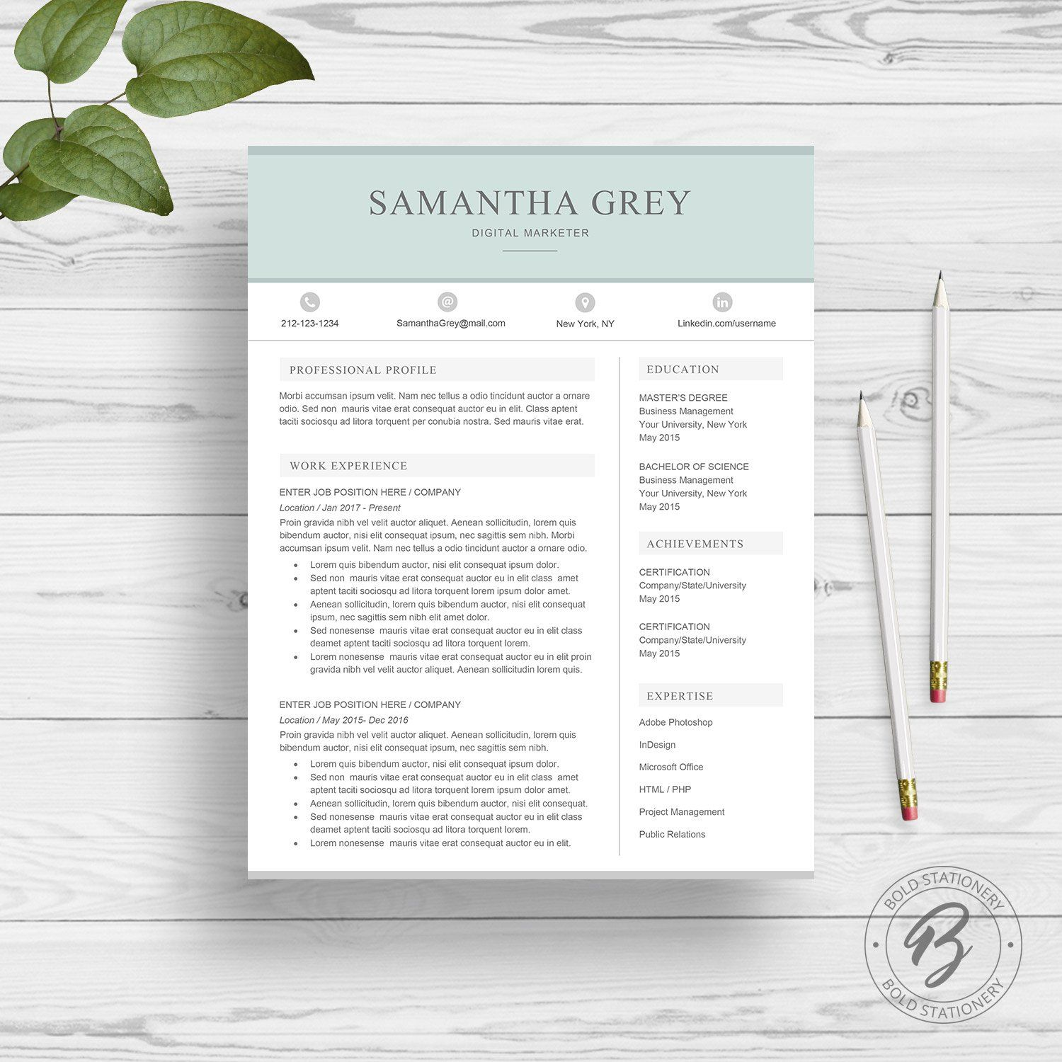 Resume Template For Word By Boldstationery On Creativemarket Graphicdesign Art Design Resume Template Word Modern Resume Template Creative Resume Templates