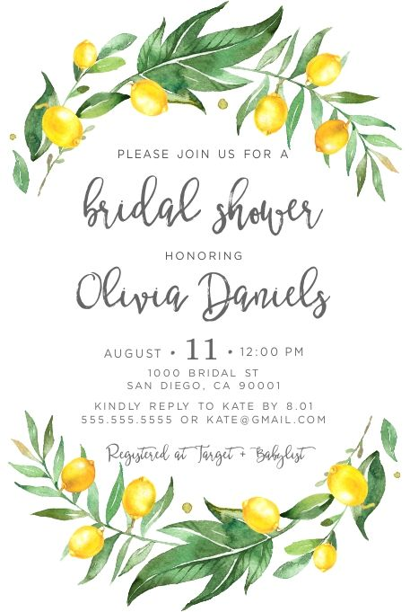 Lemon Invitation, Lemon Bridal Shower invites, Lemons, Citrus invitations, Greenery, Summer, Fall, P #bridalshowerdecorations