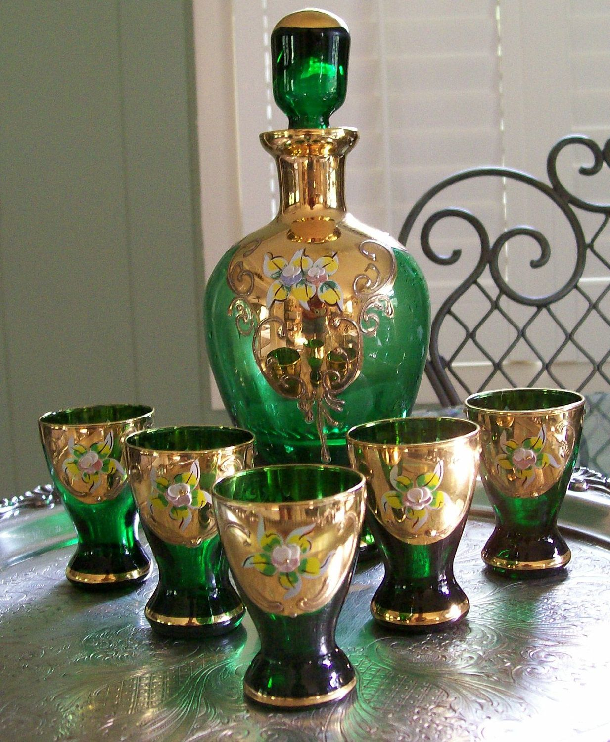 Vintage Czech Bohemian Handpainted Emerald Green Glass