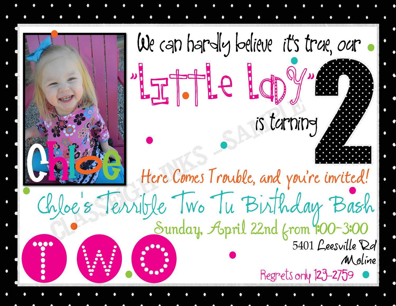 polka dots birthday party invitation terrible two birthday party