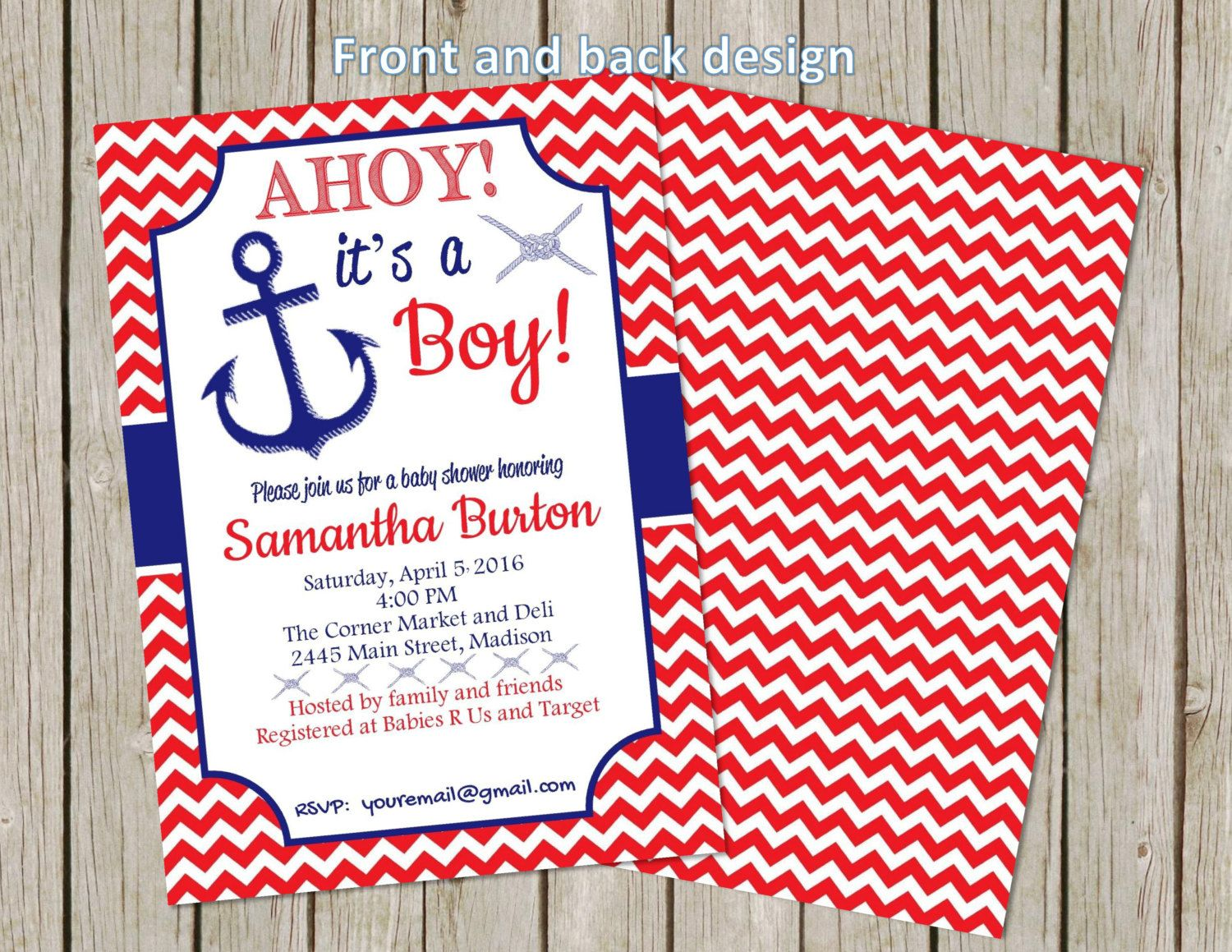 Ahoy It\'s A Boy!   Baby Shower Invitation   Red   White   Blue ...