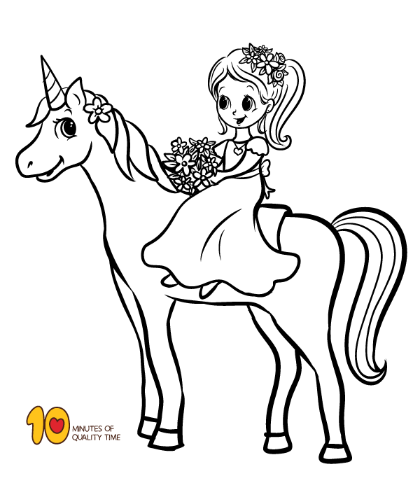 Coloring Page - Girl riding a Unicorn | Hmmm | Unicorn coloring ...