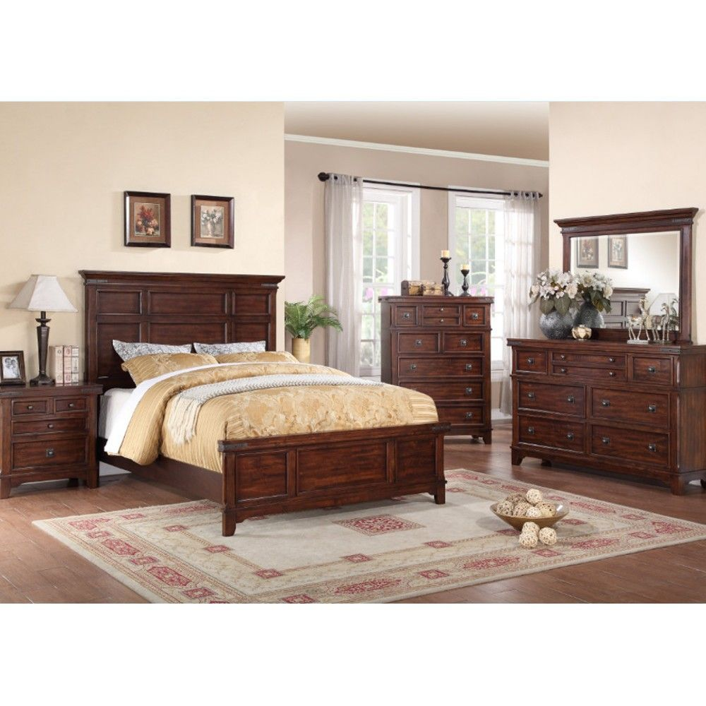 Sierra Ridge Cappuccino Bedroom Bed Dresser Mirror Queen